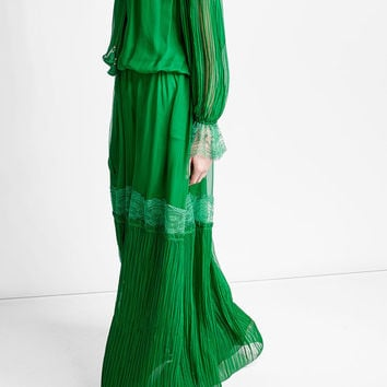 Silk Dress with Lace and Pleats - Roberto Cavalli | WOMEN | US STYLEBOP.COM