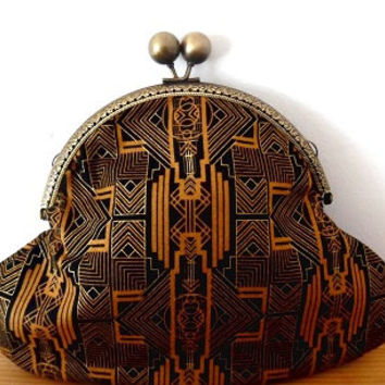 1920s/art deco/black/gold/metallic/terracotta/geometric print/small clasp bag/purse