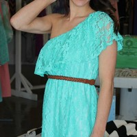 One Shoulder Dress- Teal