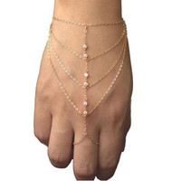 Women Multi Chain Tassel Bracelet Bangle Slave Finger Ring Hand Harness Jewelry