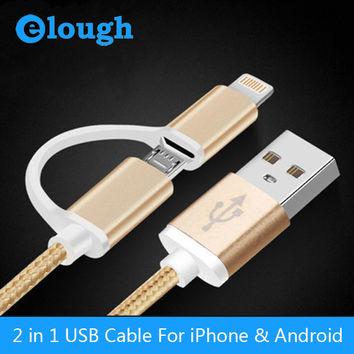Elough 2.1A 2 in 1 USB Cable Charger Cable & Micro USB Cable For iPhone 6 6s 5 5s i6 Leagoo m5 Mobile Phone Charging USB Cables