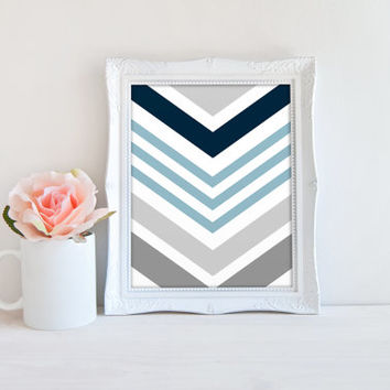 Boys Room Blue and Gray Chevron Pattern Printable Sign, Nursery Printable Digital Wall Art Template, Instant Download, Customizeable 8x10