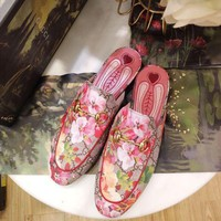 GUCCI New Fashion Floral Print Princetown GG Blooms Slipper Shoes