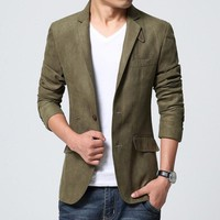 Leather Collar Retro Vintage Male Suit Jacket Suede Blazer Men Military Style Casual Slim Fit Design Olive Green Black #2bless