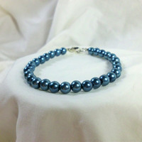 "Single Beaded Pearl Bracelet, Blue, ""Debra"""