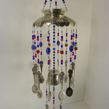 Wind chime with re purposed vintage silver plated flatware red white blue