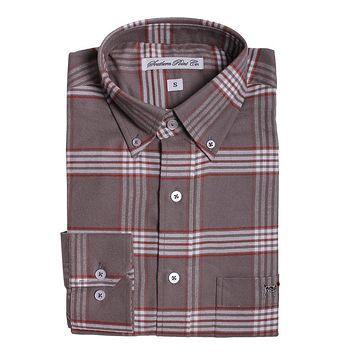 Plantation Flannel in Grey and White Plaid by Southern Point - FINAL SALE