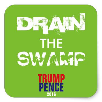 DRAIN THE SWAMP SUPPORT TRUMP GLOSSY STICKER