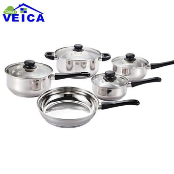 Cozinha Cucina 2017 Metal New High-grade Stainless Steel 5 Peices Cooking Pots With Frying Pan Pot Hot And Pans Cookware Set