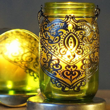 Summer Outdoor Lighting, Boho Hand Painted Mason Jar Lantern, Peridot Green Glass with Henna Inspired Design in Gunmetal Finish