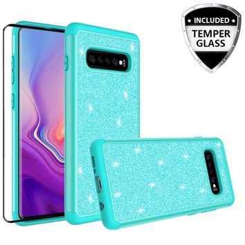 Samsung Galaxy S10 Plus Case, Galaxy S10+ Glitter Bling Heavy Duty Shock Proof Hybrid Case with [HD Screen Protector] Dual Layer Protective Phone Case Cover for Samsung Galaxy S10 Plus W/Temper Glass - Teal