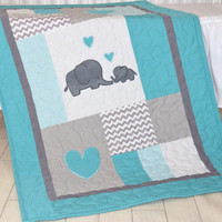 Elephant Baby Bedding,  Turquoise Blue and Gray Blanket, Chevron  Blanket, Toddler Patchwork Bespread