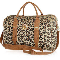 Beige print faux ponyskin weekend bag