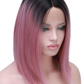 LMFG8W Short Bob Cut Wigs Ombre Pink Two Tone Color Silk Straight Lace Front Synthetic Wigs Black Roots Heat Resistant For Women