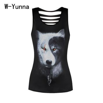 Women 3D Summer Animal Print Hollow Out Sexy Tanks Tops