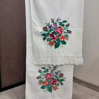 Rushnyk Vintage towel Traditional folk towel Ukrainian embroidery Ecofriendly Hand embroidered Cross stitch Cross stitch towel