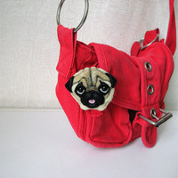 "Needle felted brooch ""Pug"". Cute felt dog. Funny pin."