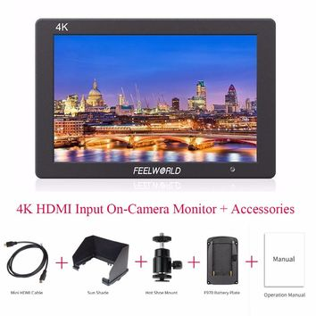 "Feelworld T7 4K HDMI Input On-Camera Monitor Full HD 1920x1200 1080P 7""IPS Aluminum Metal Frame Video Monitor for Camera/Video"
