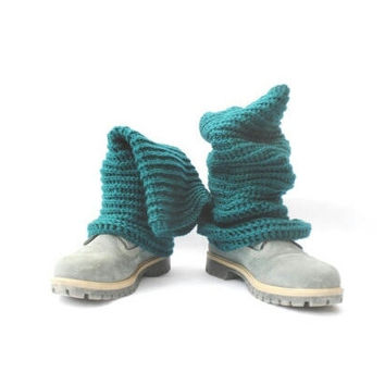 Pippi's Sparkle Teal Crochet Knee High Leg Warmers, Optional Pompoms, Fall, Winter Fashion, Gift for Her, Warm Cozy, Reversible, Womens LWs