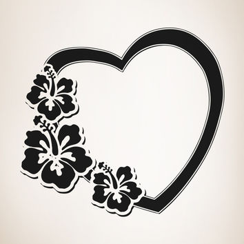 Vinyl Wall Decal Sticker Hawaiian Flower Heart #OS_AA358