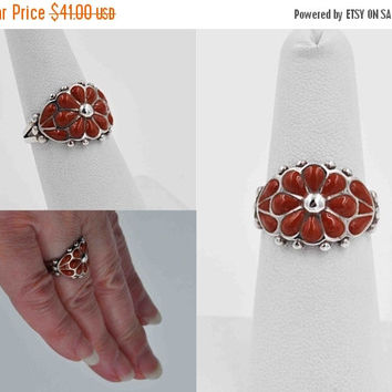 ON SALE Vintage 925 Sterling Silver Red Enamel Ring, Flower, Floral, Ribbed, Beaded, 3D, Size 7, Feminine, So Pretty! #b821
