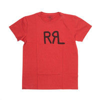 RRL SS CREW NECK PRINT TUBE TEE BRAZIL RED