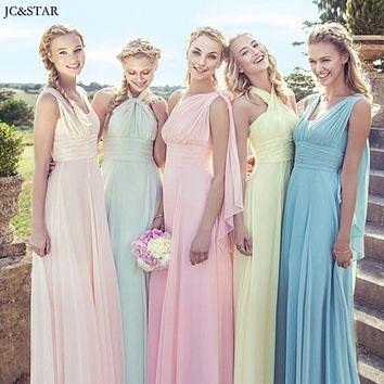 JC&STAR Multi-Wear Convertible Bridesmaid Dresses Pink Purple Vestidos de Festa Custom Made Bride Maid of Honor Dress to Party