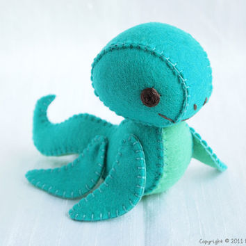 Champ the Plesiosaur Wool Felt Plush Art Doll by nonesuchgarden