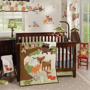 Lambs & Ivy Woodland Tales 5 Piece Baby Nursery Crib Bedding Set w/ Bumper NEW-1 Each