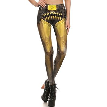 Hero Armor Women's Yellow Slim High Waisted Elastic Printed Fitness Workout Leggings
