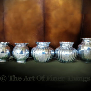 5 piece mercury glass vase set