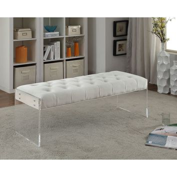 Meridian Jane Cream Velvet Bench | Overstock.com Shopping - The Best Deals on Benches