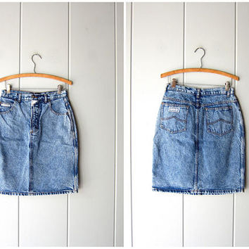 80s Acid Wash Jean Skirt High Waist Mini Skirt Stone Wash 1980s Vintage Denim Miniskirt Streetwear Hipster Grunge Boho Skirt Women's Medium