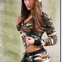 Camouflage Women Hoodies Hoody Pullover Workout Cotton Casual Hooded Sweatshirt Female Fitness Clothing