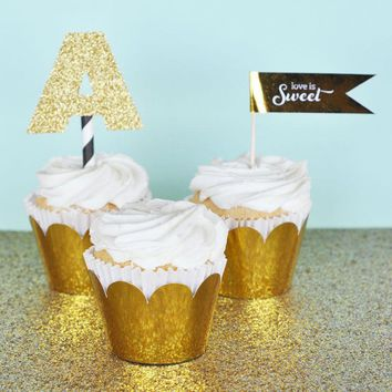 Metallic Gold & Silver Foil Cupcake Wrappers (Set of 12)