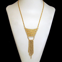 Crystal Rhinestone Fringe Necklace, Attached Pendant, Articulated Drippy Chains, Boho Style, Gold Tone Filigree, Vintage Necklace 817
