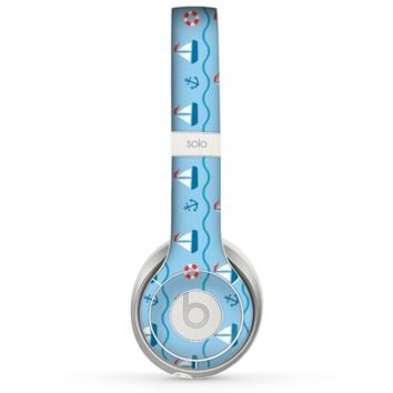 The Blue & Red Nautical Sailboat Pattern Skin for the Beats by Dre Solo 2 Headphones