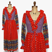 Vintage 60s Boho Patchwork Maxi Dress / 1960s Colorful Cotton Corset Lace-Up Ruffled Dress S