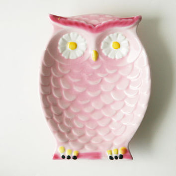 owl vintage dish pink with daisy eyes by whichgoose on Etsy