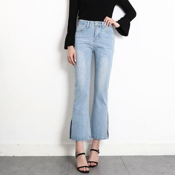 Women Simple High Waist Jeans Flares Pants Trousers Split Wide Leg Pants
