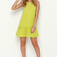 Frill of the Chase Chartreuse Dress