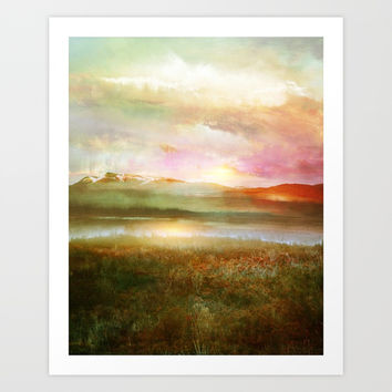 Sunset and flowers Art Print by vivianagonzlez