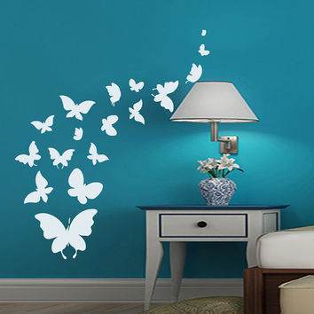 Wall Decals Butterfly Decal Vinyl Sticker Bathroom Kitchen Window Baby Children Nursery Bedroom Home Decor Interior Art Murals MN527