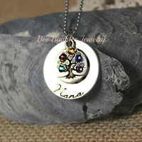 Hand Stamped Jewelry Personalized Mother Family Necklace - Hand Stamped Stainless Steel - Family Tree Jewelry
