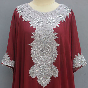 Red Maroon Caftan Dress With Fancy Silver Sequin Embroidery Dress for Wedding Bridesmaid Party Summer Kaftan Maxi Dress - ONLY 1 Available