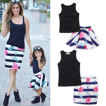 Summer Mom Girl Matching Outfits Daughter Women Kid Girls Vest & Floral Striped Skirt Clothing Set