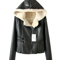 Suede PU Leather Coat with Hood