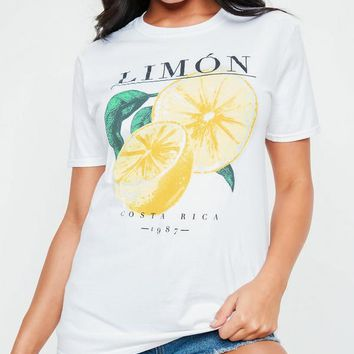 Missguided - White Limon Washed Graphic T-Shirt