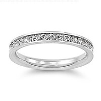 Stainless Steel Eternity Simulated Cz Wedding Band Ring 3mm Sz 3-10; Comes With FREE Gift Box (8)