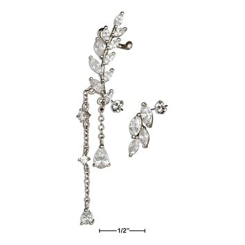 Sterling Silver Earrings:  Single Cubic Zirconia Earring With Cuff And Cubic Zirconias Stud